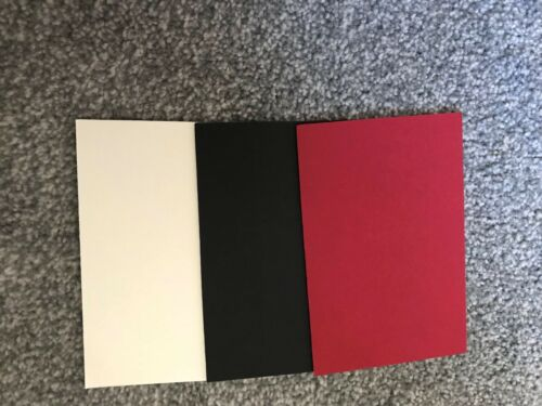 PACK OF FIVE 6 x 4 INCH CARD MOUNT BOARD CRAFTS CHOICE COLOURS BLACK DARK RED