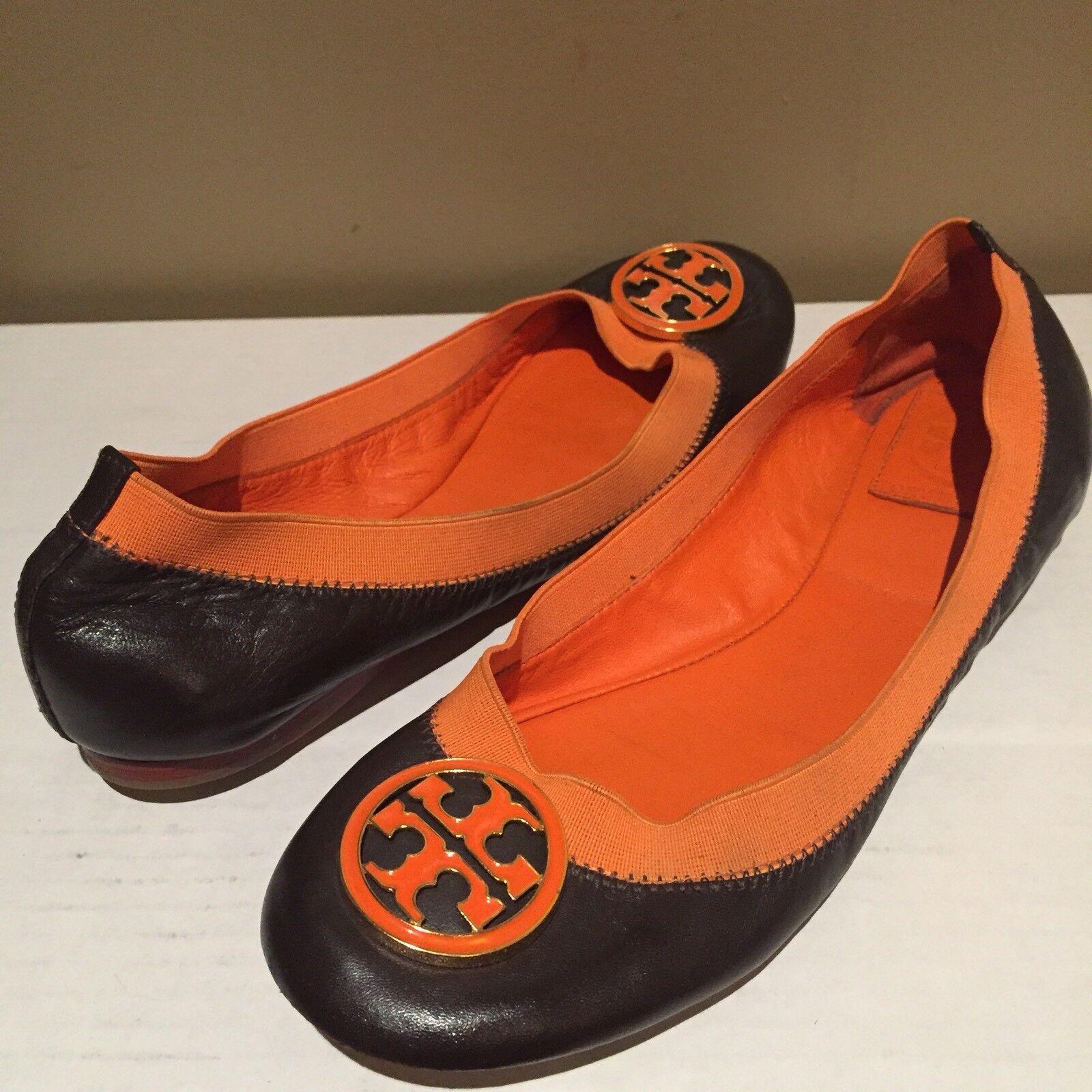 ❤️ TORY BURCH 7 Orange Braun Leder Ballet Flats Schuhes
