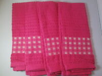 Kitchen Towels Set Of 4 - 100% Cotton - Pink Color - Size 14 X 25
