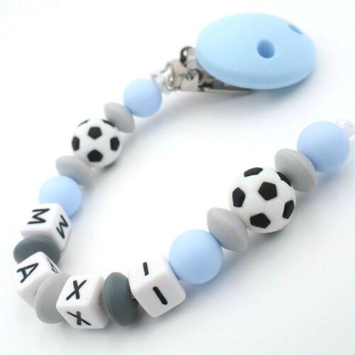 Schnullerkette mit Namen Jungen ★ Silikon Fußball babyblau grau Baby Geschenk