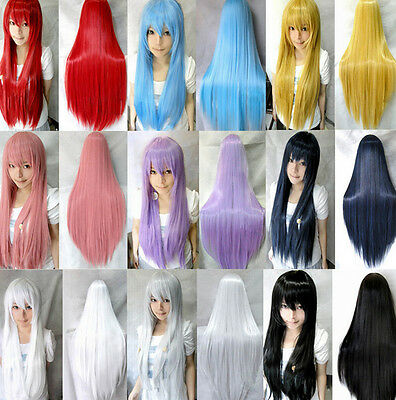 "Women 31"" Long Straight Cosplay Synthetic Hair Costume Anime Wigs Full Wig+Cap"