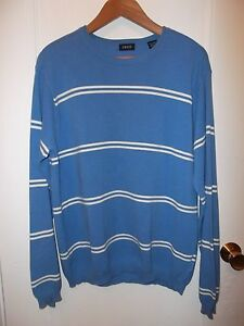 Izod-Vintage-1990-039-s-Blue-White-Stripe-Cotton-Crew-Neck-Preppy-Nautical-Sweater-L