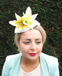 Yellow White Lily Flower Hat Races Fascinator Rockabilly Statement Clip 50s 1603
