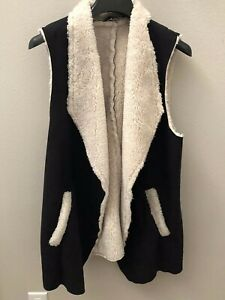 French-Laundry-Women-039-s-Vegan-Black-Suede-Fur-Vest-Size-Large-NWT