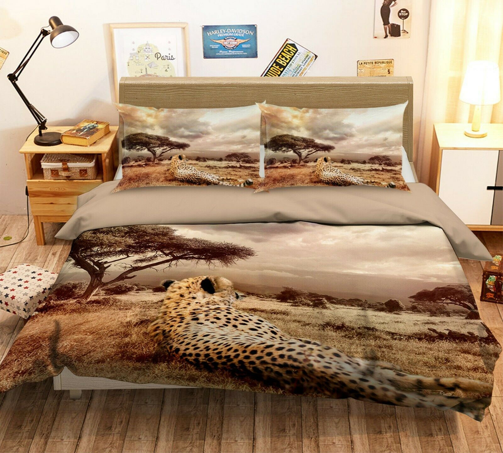 3D Leopard N26 Animal Bett Pillowcases Quilt Duvet Startseite Königin König Amy
