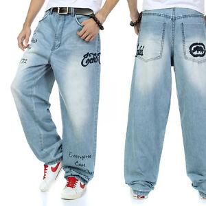 3e788735401 Image is loading Loose-Fit-Mens-Jeans-Hip-Hop-Skateboard-Street-