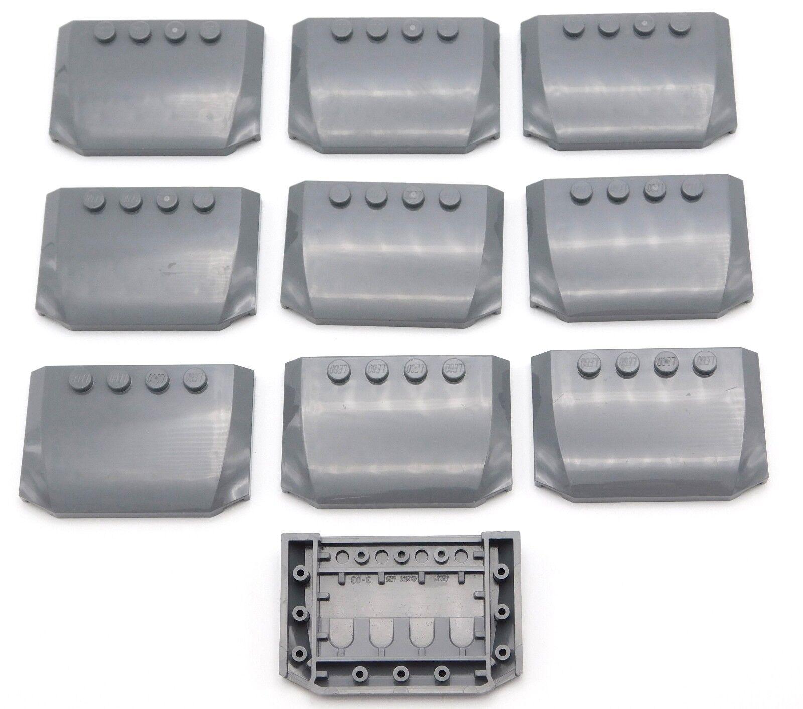 Lego Lot Of 10 4 Nuovo Dark Bluastro Grigio la Zeppa 4 10 x 6 x 2 3 Triplo Curvo 9e1829