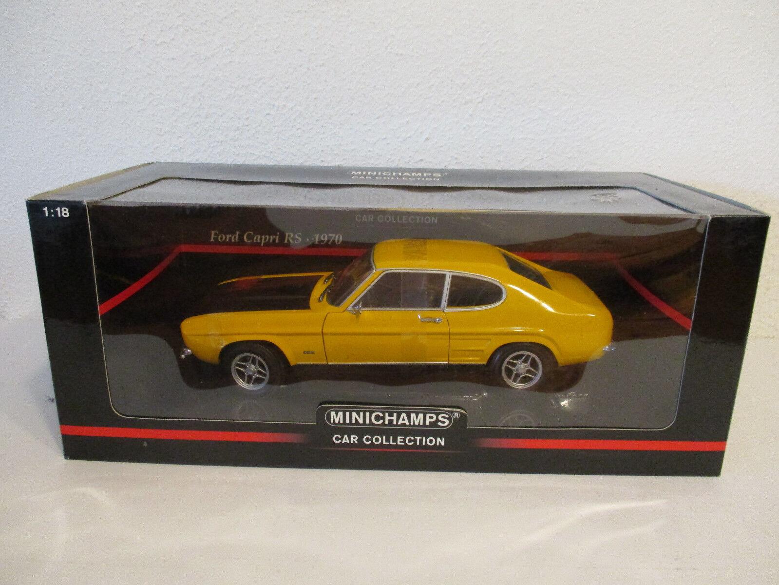(Gol ) 1 18 Minichamps Ford Capri RS 1970 jaune Noir Neuf Emballage Scellé