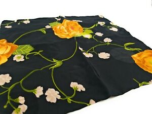 BRIONI-Floral-Silk-Pocket-Square-Hand-Rolled-LKNWOT-Black-with-Golden-Flowers