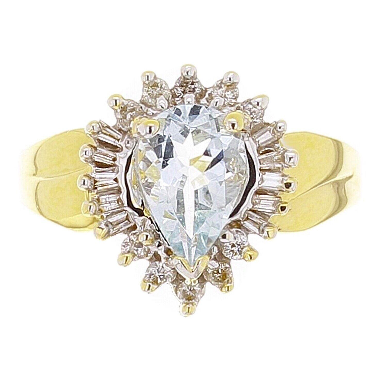 14k Yellow gold 1.63ctw Aquamarine & Diamond Cluster Ring