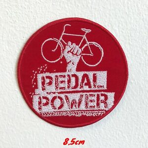 Pedale-Power-Bicycle-Badge-Rouge-Brode-Repasser-Patch-a-Coudre-1543R