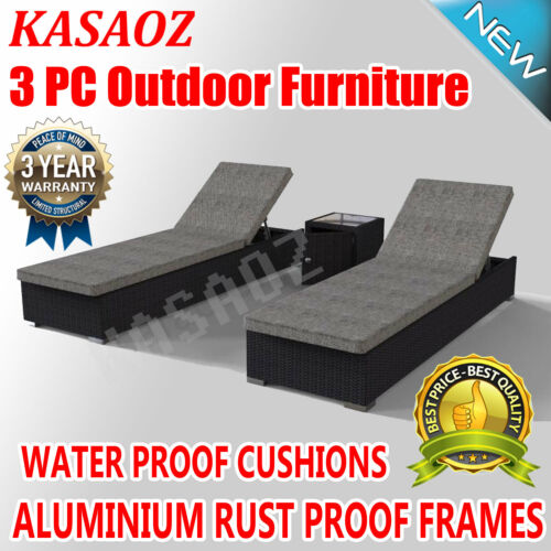 Outdoor Furniture Lounge Set Sun Day Bed PE Wicker Rattan Garden 3pc Black