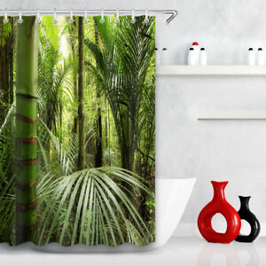 Rain-Forest-Tropical-Plants-Green-Leaves-Scenic-60x72-034-Fabric-Shower-Curtain-Set