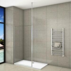 Details zu Walk in Dusche Duschwand Nano Glas Duschkabine Duschabtrennung  mit Deckenhalter