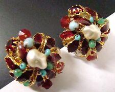 SIGNED DeMARIO Vintage EARRINGS Turquoise Pearl Red Rhinestone Enamel