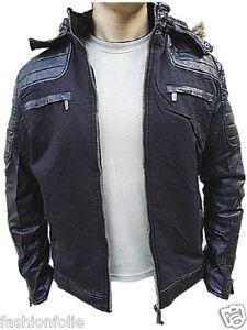 Manteau-Homme-Veste-hiver-simili-cuir-Blouson-Jacket-capuche-fourrure-W1425