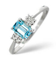 Blue Topaz Ring Blue Topaz and Diamond Ring White Gold Engagement Ring size F-Z