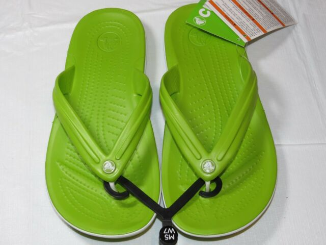 bc03a37eafa Buy Crocs Crocband Flip Flops Sandals Thongs Mens M12 Adult Volt Green White    online