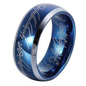 Image Is Loading 8mm Shire Blue Tungsten Carbide Ring Lord Of