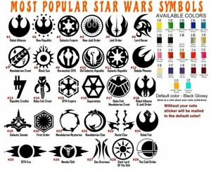 Star Wars Symbols Vinyl Decal Sticker Car Helmet Window Laptop