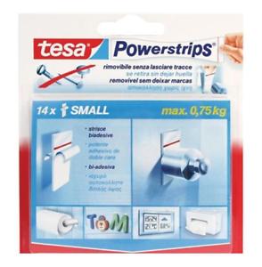 Tesa-Powerstrips-Strisce-Biadesivo-Small-Rimovibili-Bianco-14-Pz-Max-0-75kg-New