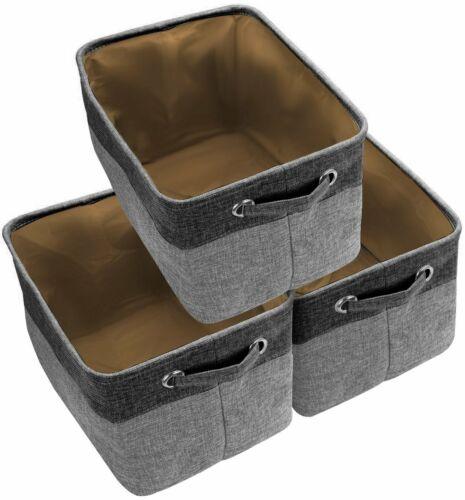 Large Storage Basket Rectangular Fabric Collapsible Organizer Bin Box 3-Pack
