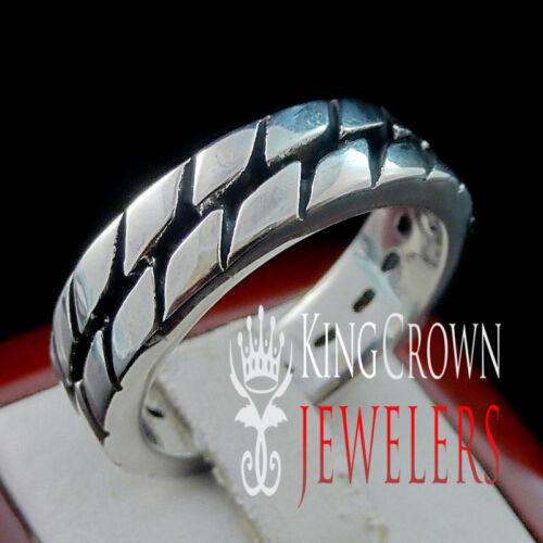 New 14k White Gold Finish Mens Real Stainless Steel Designer Plain  Pinky Ring