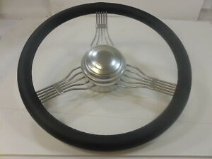 15-034-SS-steering-Wheel-with-Leather-wrap-Banjo-Style-Polished