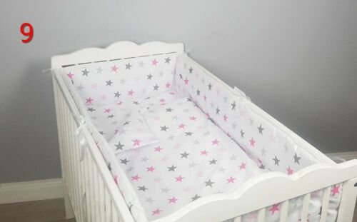 cot bed GREY STARS CHEVRON DOT ALL ROUND BUMPER padded filled straight for cot