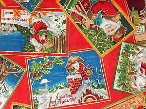 CHRISTMAS-VINTAGE-POSTCARDS-ON-RED-GOLD-METALLIC-Cotton-Fabric-VIP-SANTA-OOP-HY