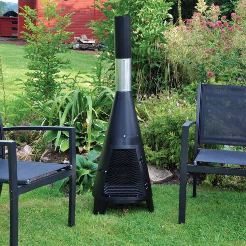 Kingfisher Small Tower Chiminea Fire Black Steel Garden Outdoor Heater  Grill | EBay