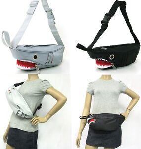 NEW-3D-NYLON-SHARK-GRAY-OR-BLACK-RED-TEETH-FANNY-PACK-CROSSBODY-SHOULDER-BAG
