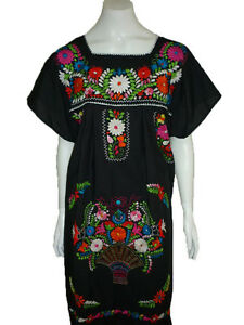Black-Boho-Vintage-Style-Hand-Embroidered-Tunic-Mexican-Dress-Hippie-Puebla