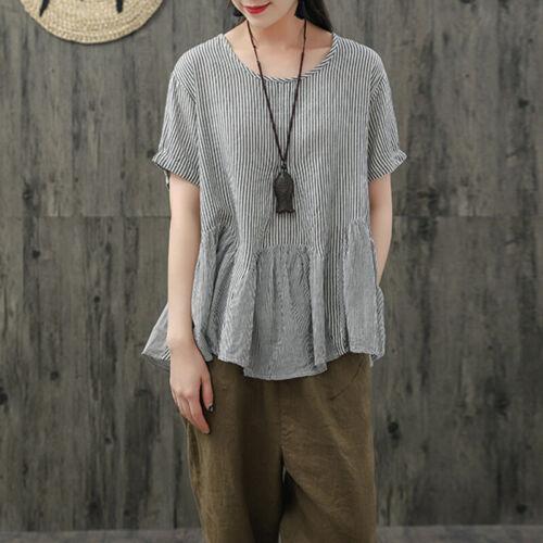 ZANZEA Women Short Sleeve Summer Stripe T-Shirt Tops Pleated Hem Blouse Tee Tops