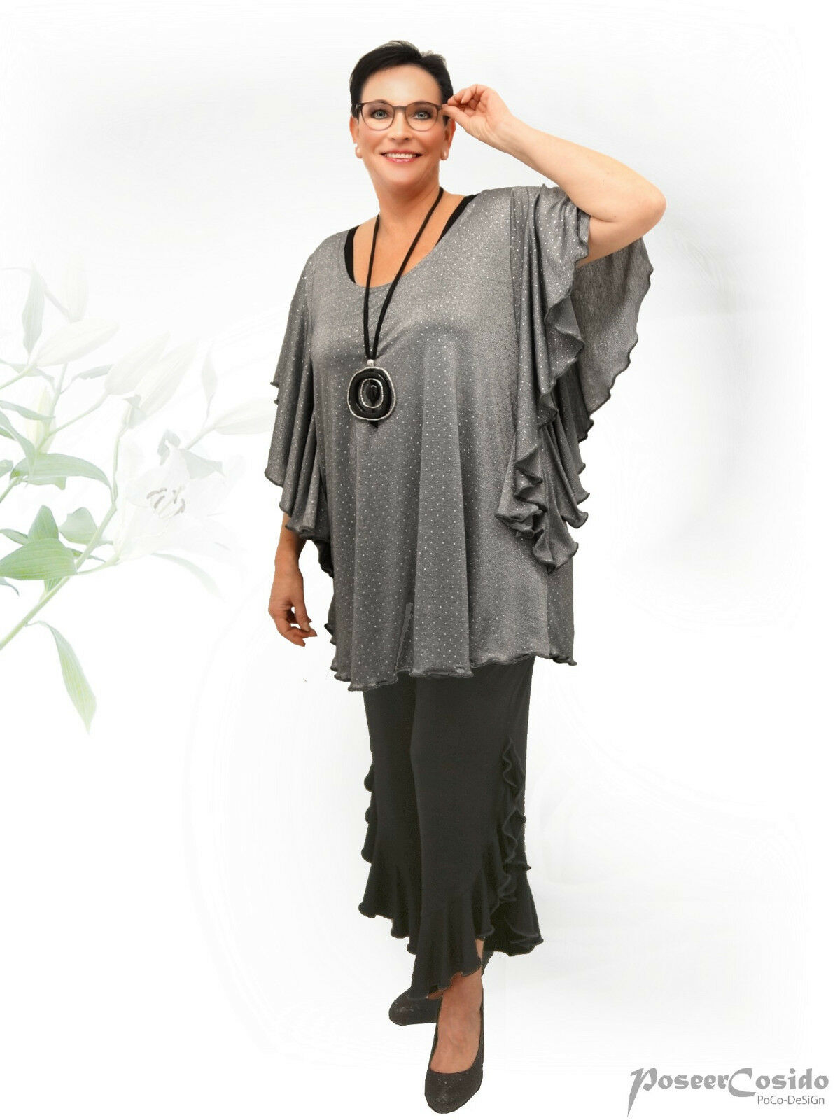 Poco Poco Poco design Lagenlook Tunica Long-shirt Top volantarm Grigio & rosa L-XL-XXL-XXXL 6f73fa
