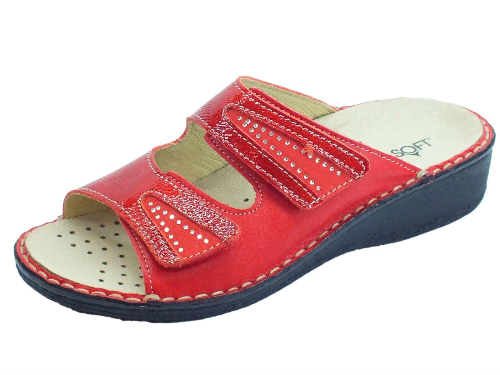 Sandali linea comoda Cinzia Soft pelle rojo con doppio stretch sottopiede pelle