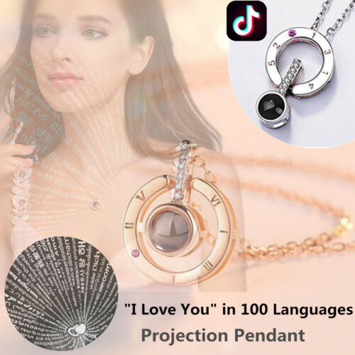 Women 100 Languages Light Projection I Love You Pendant Necklace Gift for Her