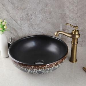 16 Round Bathroom Ceramic Vessel Sink Wash Basin Combo Brass Mixer Faucet Set Ebay