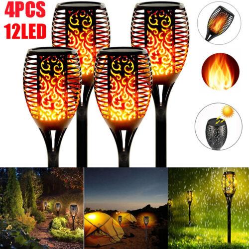 4X 12LED Solar Fackel Garten Licht Tanzen Flackernde Flamme Landschaft Dekolampe