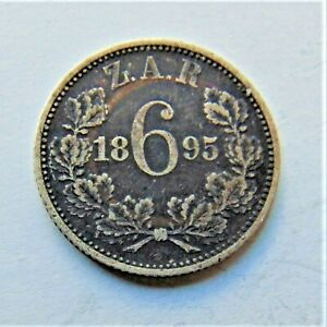 1895-ZAR-SOUTH-AFRICA-Kruger-silver-Sixpence-grading-VERY-FINE