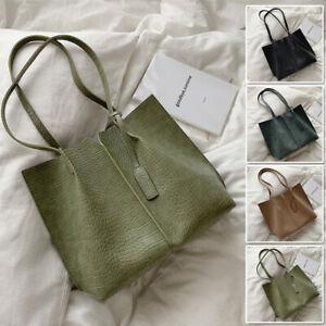 2-Pcs-Set-Croc-Print-Raw-Edge-Faux-Leather-Single-Shoulder-Bag-Tote-Bag-Purse