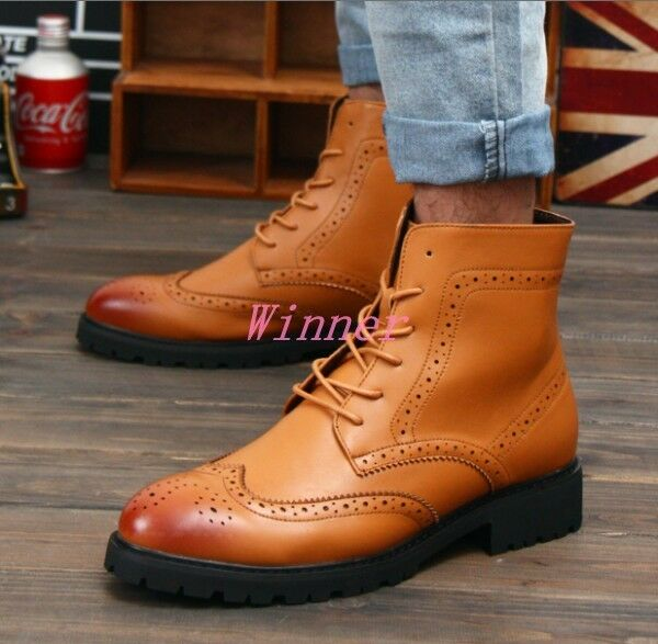 Men's Brogue Pointy Toe Lace Up Ankle Boots Formal Oxford Dress shoes