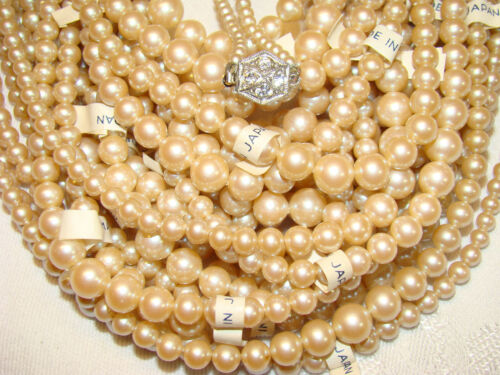 1 GWP Necklace 24 NOS Faux Strung Pearls JAPAN Ready for Easy Install Clasp