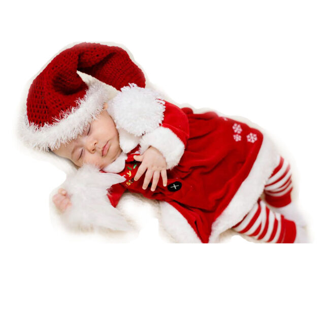 New Christmas Baby Infant Boy Girl Clothes Xmas Crochet Hat Tops Rompers Costume