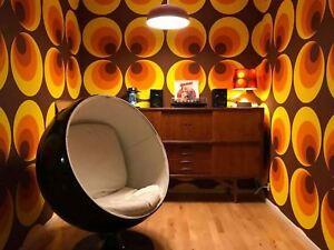 Tapisserie Rétro Cercles Orange Beige Marron 60 pièces salon deco