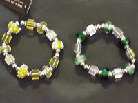 Beautiful Art Glass Beads Stretch Bracelet Facets 5th Ave Fashion Jewelry