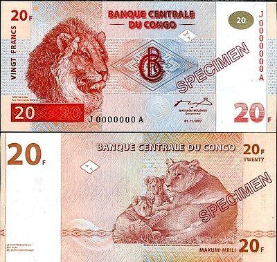 P 86 SPECIMEN UNC CONGO 5 FRANCS 1997 1998