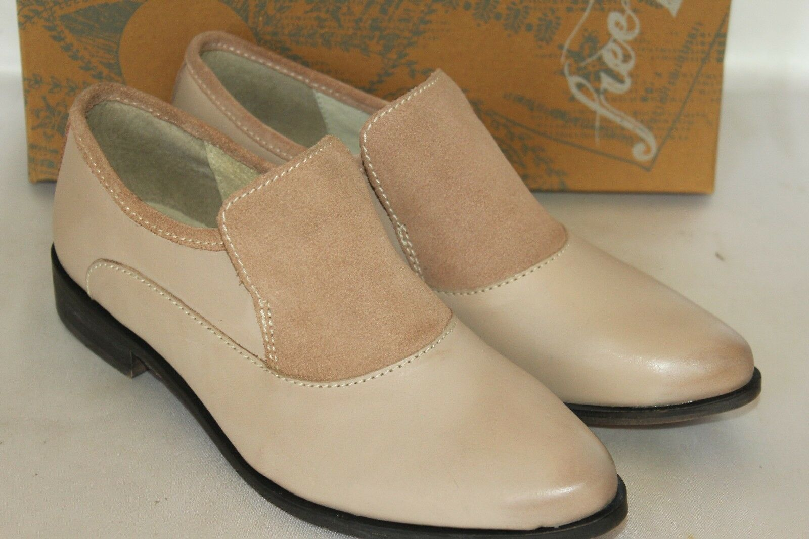 NEU  Anthropologie FREE PEOPLE Natural Leder & Nubuck Suede BRADY Loafer EU39