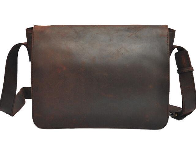 "Men's Genuine Leather Cowhide Vintage Coffee 13"" Satchel Shoulder Messenger Bags"