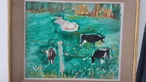 034-Les-vaches-Normandes-034-peinture-signee-HINKIS-Alexandre-1913-1997-France